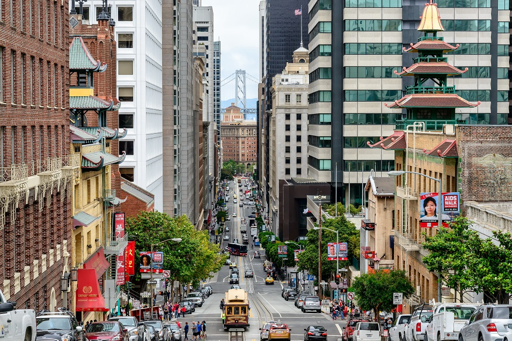San Francisco, CA - CIRCA JULY 2014 - Cable car on the street of San Francisco, CA, circa July 2014. ; Shutterstock ID 234439840