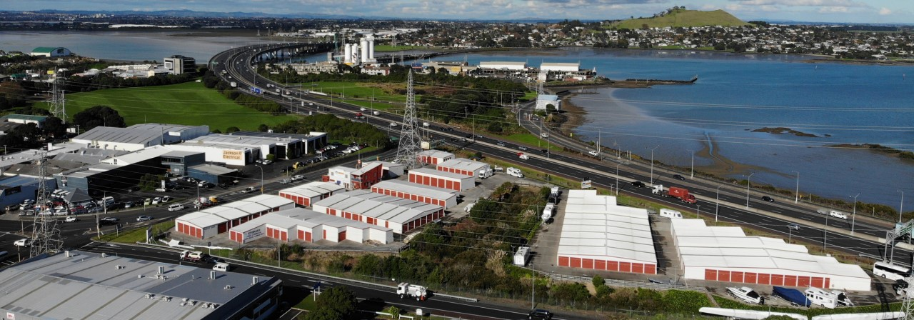 Drone shot of industrial property in Onehunga, Auckland