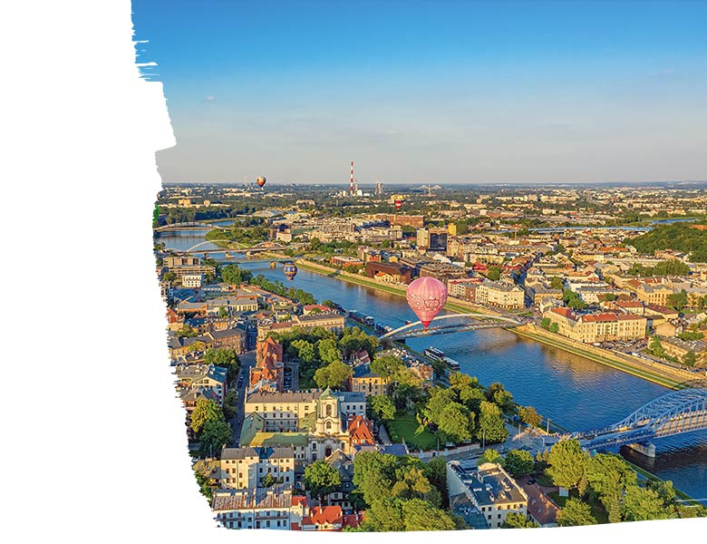 Krakow real estate, Krakow panoramic view, Krakow – Wistula river, Krakow JLL report